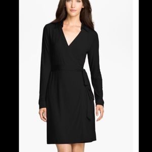 Calvin Klein black wrap dress long sleeve sz 8